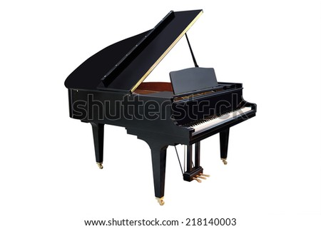 image of a grand piano under the white background