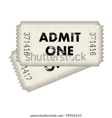 Image of a gray Admit One ticket isolated on a white background.