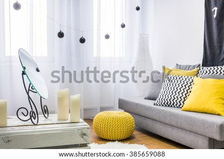 Image of a grey and yellow living room - stock photo