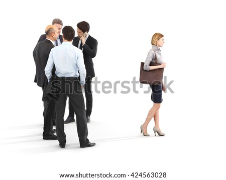 Image of a group of businessmen standing with a businesswoman walking in front. Leading the way, diversity or harassment concept. Photo realistic 3d rendering - stock photo