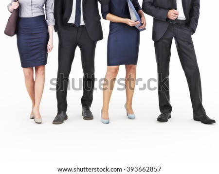 Image of a group of young businessmen and businesswomen standing on an isolated white background. Photo realistic 3d model scene