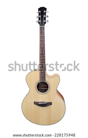 image of a guitar under a white background