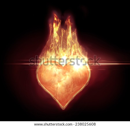 Image of a heart shape with a realistic fire and a lens flare - stock photo