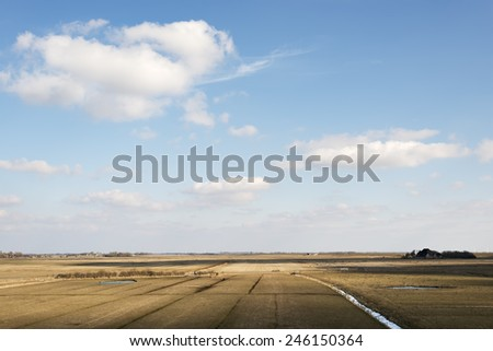 Image of a landscape with fields and ditches on a sunny day in Northern Germany