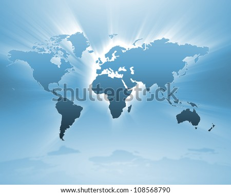 Image of a light blue world map - stock photo
