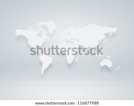 Image of a light blue world map - stock photo