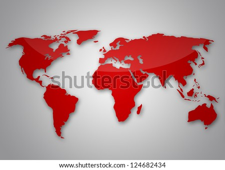 Image of a light red world map - stock photo
