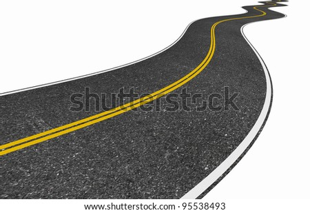 image of a long winding road isolated on white - stock photo