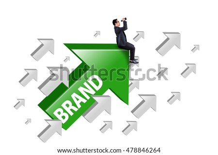 Image of a male entrepreneur sitting on upward arrow with brand word, isolated on white background