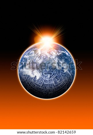 Image of a Mayan Calander and Earth with light flare. Conceptual image on the Mayan 2012 predictions