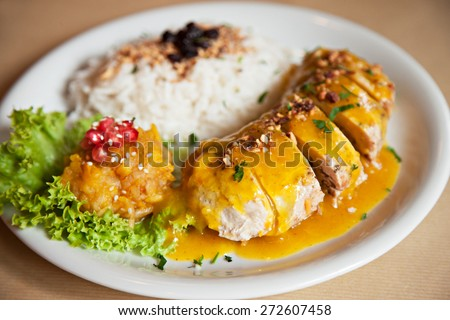 image of a meat with rice dish - stock photo