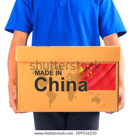 image of a messenger delivering holding a package with made in China - stock photo