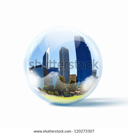 Image of a modern cityscape inside a glass sphere