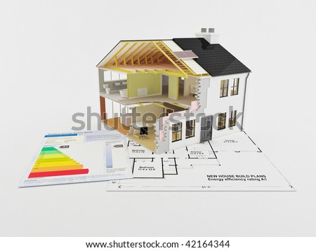 Image of a new home with energy saving certificate - stock photo