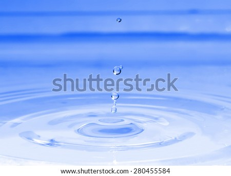image of a nice water drop, close up, blue color