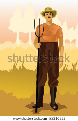 Image of a peasant who is working on his farm.