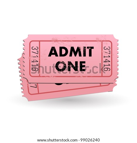 Image of a pink Admit One ticket isolated on a white background. - stock photo