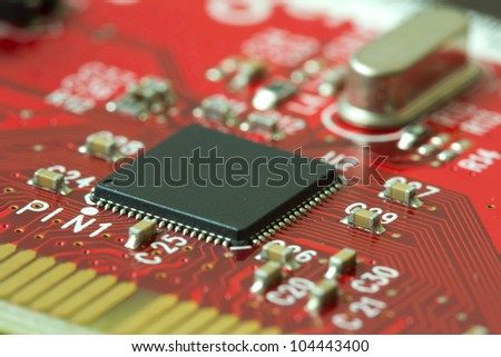 Image of a printed circuit board with electronics components - stock photo