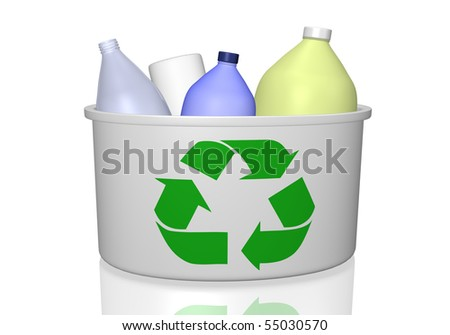 Image of a recycle bin and empty bottles isolated on a white background.