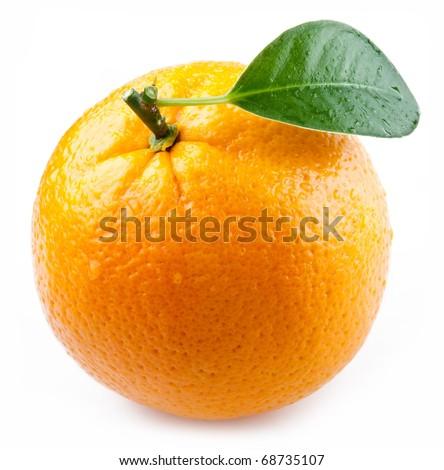 Image of a ripe orange on a white background. - stock photo