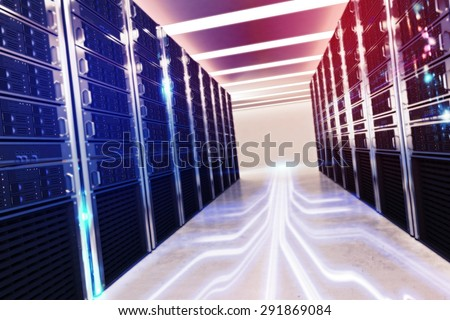 Image of a room of virtual database - stock photo