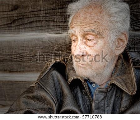Image of a sad and depressed senior man - stock photo