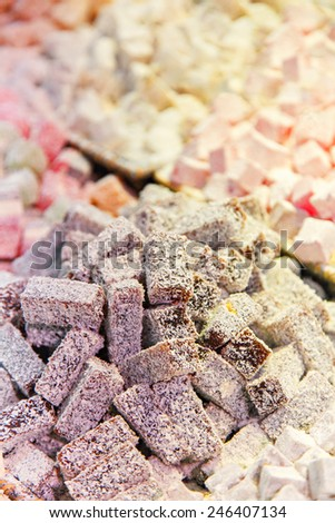Image of a selection of delicious turkish delight. Shallow depth of field. - stock photo