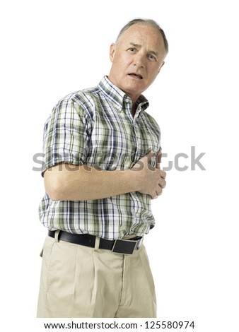 Image of a senior man suffering from heart disease. - stock photo