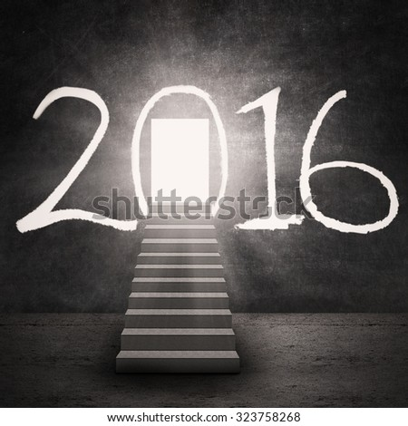 Image of a shining door with numbers 2016 and a stairway. Concept of a door toward the future - stock photo
