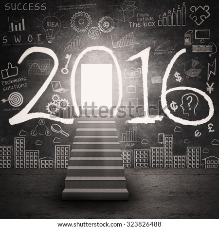 Image of a shining entrance with a staircase, numbers 2016, and doodles on the wall - stock photo