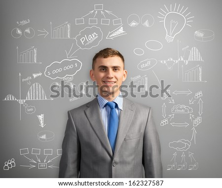 image of a smiling businessman thinking about innovation in business, sketch on the wall of charts and diagrams