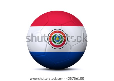 Image of a soccer ball with national flag of Paraguay, isolated on white background