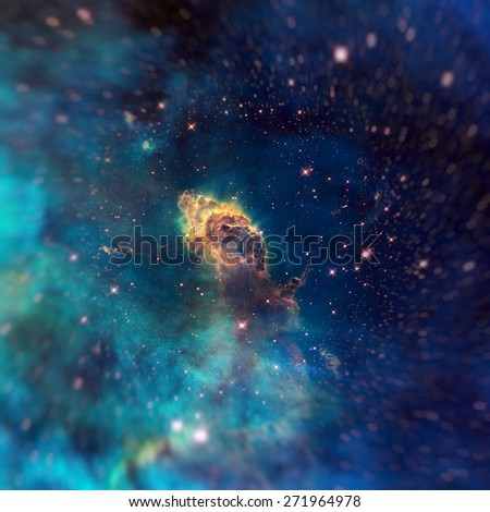 Image of a stellar jet in the Carina Nebula, imaged by Hubble's WFC3/UVIS detector. Universe filled with stars, nebula and galaxy. Image with small DOF. Elements of this image furnished by NASA. - stock photo
