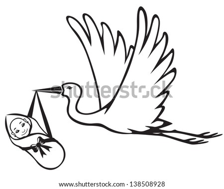 Image of a stork which brings baby - stock photo