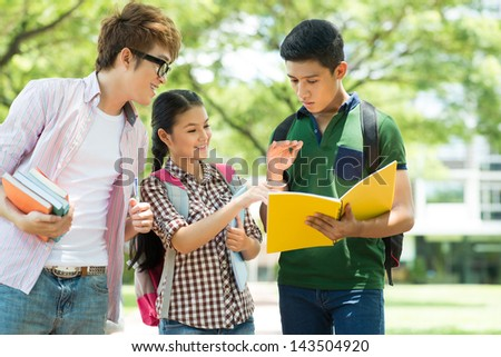 Image of a student team discussing something in the park - stock photo