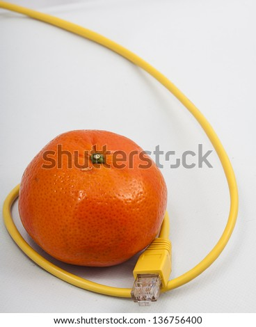 Image of a Tangerine with ethernet cable - stock photo