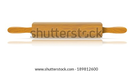 Image of a traditional rolling pin with reflection - stock photo