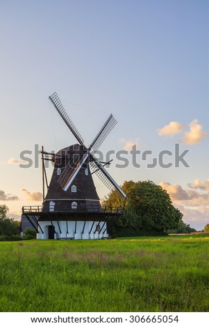 Image of a traditional type of windmill. Helsingborg, Sweden.