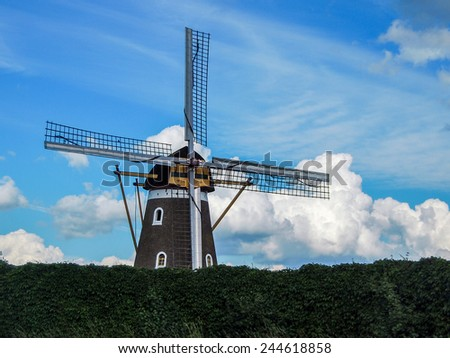 image of a traditional windmill in Holland/ Netherlands - stock photo