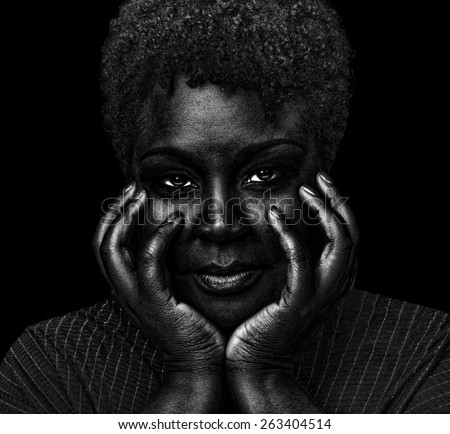 Image of a Very Beautiful Woman On Black - stock photo