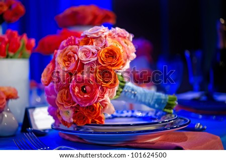 image of a very colorful wedding bouquet - stock photo