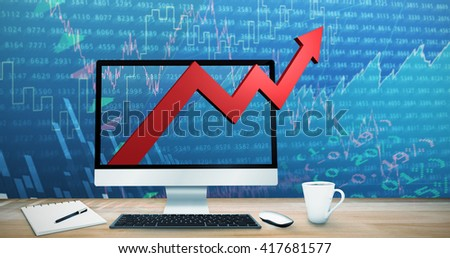 Image of a virtual desk against stocks and shares
