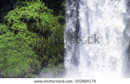 Image of a waterfall, divided by half by green grass and falling water, Iguazu, Argentina - stock photo
