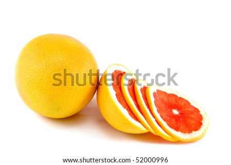 Image of a whole and cut grapefruit isolated on white background