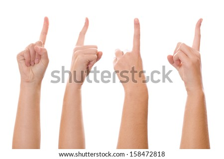 Image of a woman finger pointing from four different angle of shot - stock photo