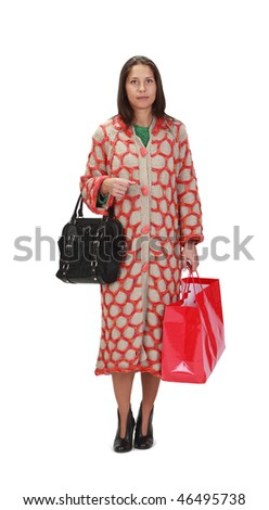 Image of a woman shopping, isolated against a white background