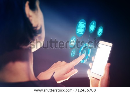 Image of a woman with a smartphone in her  hand. She performs banking operations with her gadget.