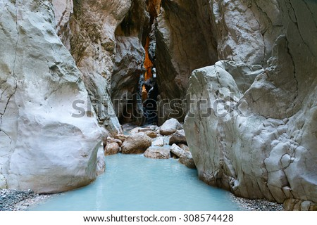 Image of a wonderful gorge passing through the mountains in the Dalaman region of Turkey showing rock formations - stock photo