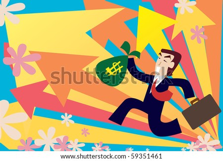 Image of a young businessman who is making his way to the top