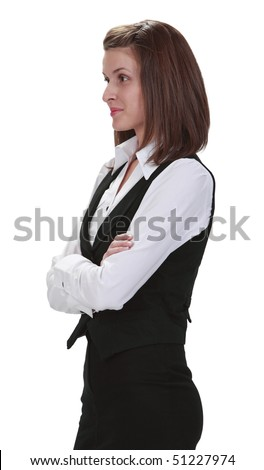 Image of a young businesswoman isolated against a white background